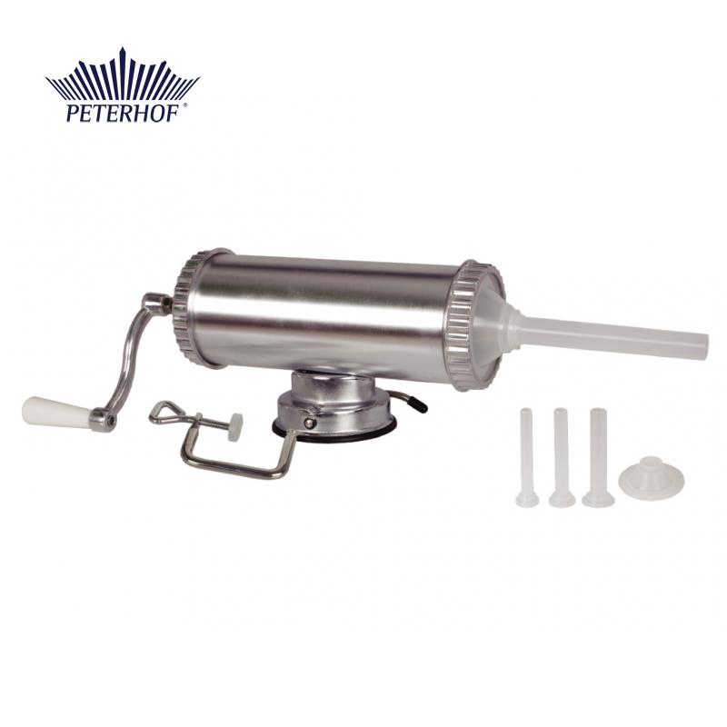 Aparat de făcut Cârnaţi Peterhof, 3 Litri, 1.5 Kg, 3 pâlnii de 15, 19 şi 22 mm, Aliaj Aluminiu