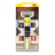 Aparat de Ras cu 5 Lame Max Premium Razor 5 Kodak, 4 Rezerve, Oțel, Cap pivotant, Bandă Aloe Vera