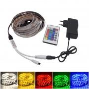 Bandă cu LED-uri RGB Multicolor Stripe, 5 metri, Jocuri de Lumini, Telecomandă cu 24 Taste, Adaptor inclus