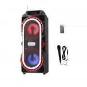 Boxă Portabilă cu Lumini, Bluetooth, Radio şi Microfon AiLiang, 10 W Stereo, USB şi Card, Baterie, Telecomandă, Diverse Culori