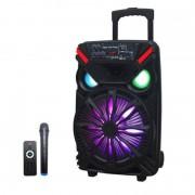 Boxă Portabilă tip Troler cu Microfon și Telecomandă LiGE 1717, 250 W, USB, Lumini Disco LED, Acumulator