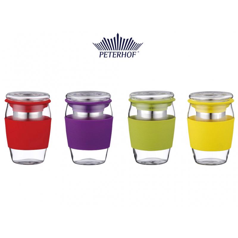 Cană din Sticlă cu Infuzor pentru Ceai sau Cafea Ciro Peterhof, 500 ml, Silicon şi Inox, Diverse Culori