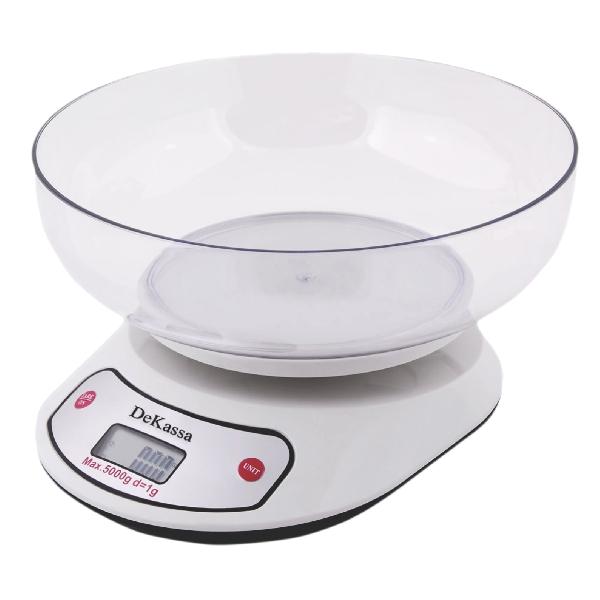 Cântar de Bucătărie cu Bol DeKassa, 5 Kg, LCD, Baterii, Alb