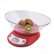 Cântar de Bucătărie cu Bol DeKassa, 5 Kg, LCD, Baterii, Roşu