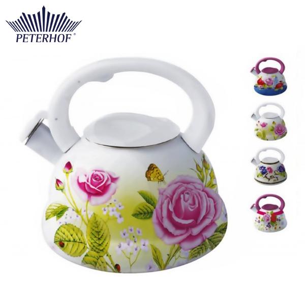Ceainic din Email cu Flori Peterhof, 3 Litri, Inox, Inducţie