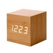 Ceas Cub Digital Lemn Wooden Clock, 7.5 x 7.5 x 9 cm, Temperatură, Alarmă, Diverse Culori