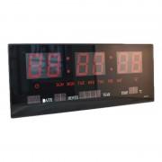 Ceas Digital LED Clock DD-3615, 48 x 19 x 5 cm, 220 V, Oră 12H/24H, Dată D/M/W, Alarmă, Termometru, Negru