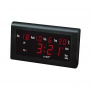 Ceas Digital LED Clock VST, 220 V, Oră 12H/24H, Dată D/M/W, Alarmă, Termometru, Negru
