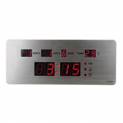 Ceas Digital Metalic de Birou Slim LED Clock, Oră și Dată, Termometru, Alarmă, Argintiu, Diverse Culori