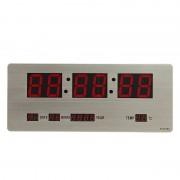 Ceas Digital Metalic Slim LED Clock, Oră și Dată, Termometru, Alarmă, Argintiu, Diverse Culori