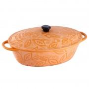 Cratiţă Ovală cu Capac din Ceramică Vabene, 1.3 Litri, 2 Piese, Pentru Cuptor, Portocaliu