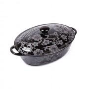 Cratiţă Ovală cu Capac din Ceramică Vabene, 1.4 Litri, 2 Piese, Pentru Cuptor, Negru