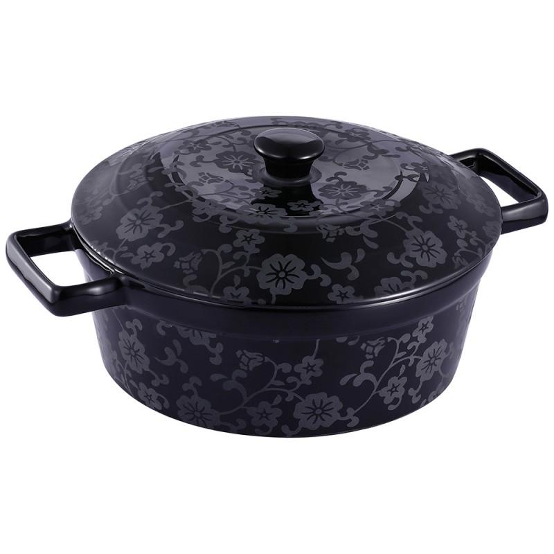 Cratiţă rotundă cu Capac din Ceramică neagră Vabene, 2 Litri, 2 Piese