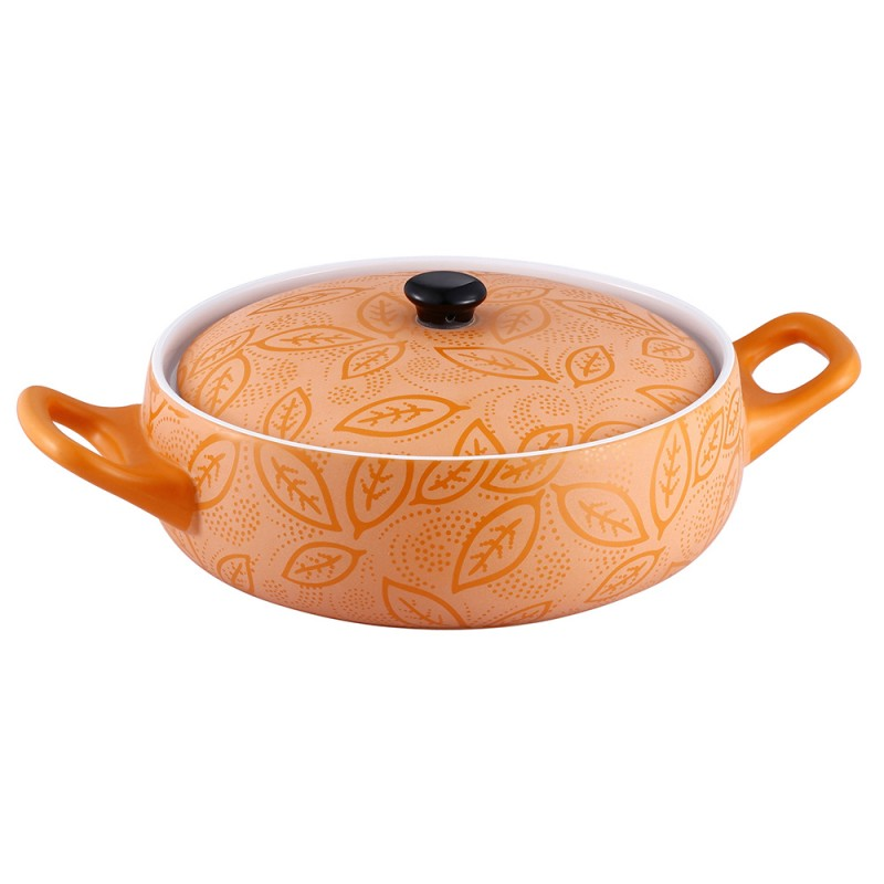 Cratiţă Rotundă cu Capac din Ceramică Vabene, 1.5 Litri, 2 Piese, Pentru Cuptor, Portocaliu