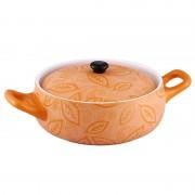 Cratiţă Rotundă cu Capac din Ceramică Vabene, 2 Litri, 2 Piese, Pentru Cuptor, Portocaliu