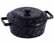 Cratiţă rotundă cu Capac din Ceramică neagră Vabene, 2.5 Litri, 2 Piese