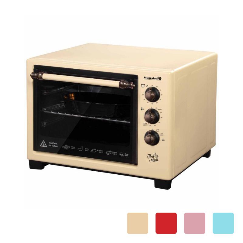 Cuptor Electric Mecanic Tini Mini Hausberg, 1420 W, 25 Litri, Termostat, Timer, Tavă și Grill, Diverse Culori