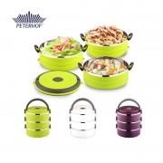 Cutie Rotundă pentru Alimente Lunch Box Peterhof, 1.8 Litri, 3 piese, Diverse Culori