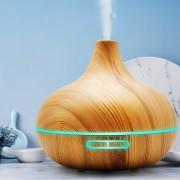 Difuzor de Aromă cu Ultrasunete Aromatherapy Bulb, 235 ml, Lumină LED 7 Culori, USB 5V, Plastic Maro/Lemn