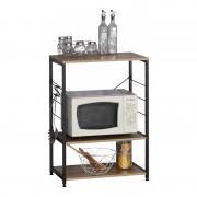 Etajeră cu 3 Rafturi Grunberg, 60 x 40 x 82 cm, Metal și PAL, Pentru Bucătărie, Demontat