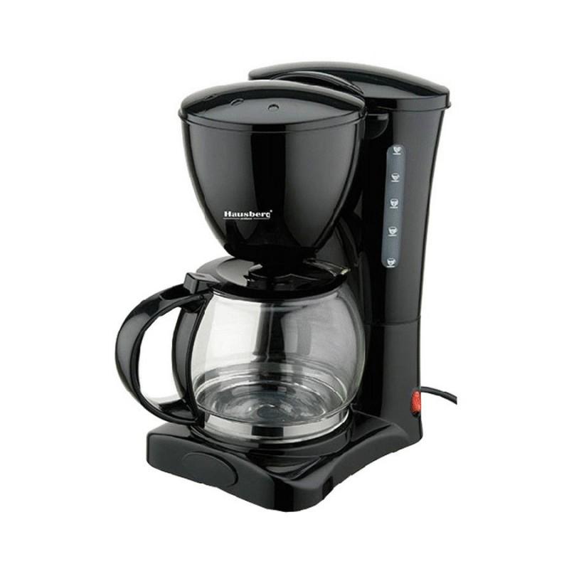 Filtru de Cafea Electric Hausberg, 12 ceşti, 1.2 Litri, 1200 W, Filtru detaşabil, Negru