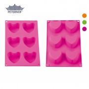 Formă de Brioşe din Silicon Peterhof, 6 forme, Inimioare, Diverse Culori