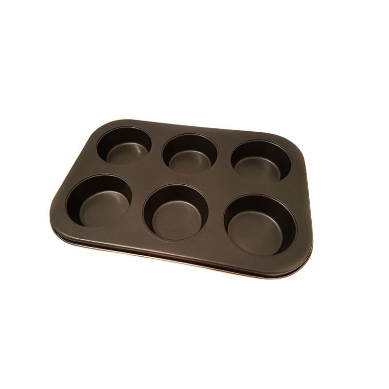 Formă pentru Brioşe din Oţel Grunberg, 6 forme, Teflon