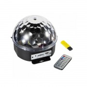 Glob Disco Multicolor cu Jocuri de Lumini LED şi USB Crystal Magic Ball, 220 V, Telecomandă, MP3 Player, Proiector LED-uri Party