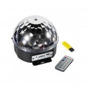 Glob Disco Multicolor cu Jocuri de Lumini LED şi USB Crystal Magic Ball, 220 V, Telecomandă, MP3 Player, Proiector LED-uri Party