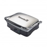 Grill şi Sandwich Maker Electric Hausberg Diamonds, 2200 W, Profesional, Înveliş Antiaderent, Inox