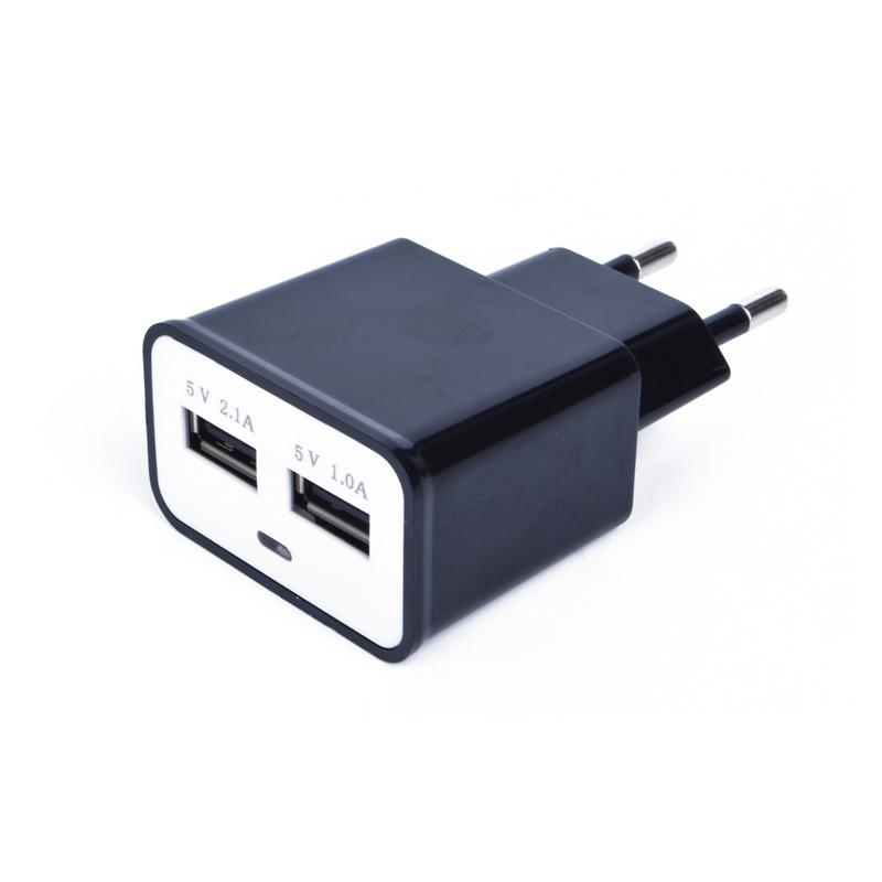 Încărcător Dual USB la Priză Universal Travel EKA, 5.0 V, 2.1+1 A, 2 Slot USB, Adaptor fără Cablu, Diverse Culori