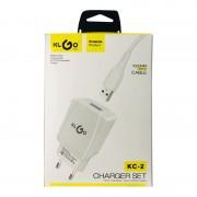 Încărcător USB / MicroUSB la Priză cu Cablu Universal KLGO, 5.0 V, 2.1 A, Slot USB, Adaptor, Alb