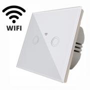 Întrerupător Touch Dublu cu Wi-Fi SPIN, 86 x 86 mm, Sticlă Securizată, Indicator Luminos, Alb