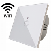 Întrerupător Touch Simplu cu Wi-Fi SPIN, 86 x 86 mm, Sticlă Securizată, Indicator Luminos, Alb
