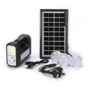 Kit Lanternă cu 3 Becuri LED și Încărcare Solară GDLite, Acumulator 6 V / 4 Ah, Panou Solar
