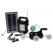 Kit Lanternă Radio cu Încărcare Solară Camping GDLite, Acumulator 6 V / 4 A, 4 Becuri LED, Panou Solar, MP3 Player