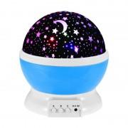Lampă de Veghe cu Proiector Rotativ cu Stele şi Lună, Rotaţie 360 grade, Glob 4 LED-uri, USB, Diverse Culori