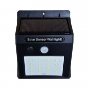 Lampă Solară de Perete cu Senzor Solar Powered Light, 20 LED-uri, Senzor PIR, Senzor CDS, Negru