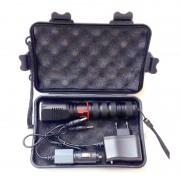 Lanternă cu LED Cree T6-WC, 5300K-6000K, Metalică, Cutie depozitare, Încărcător, Negru
