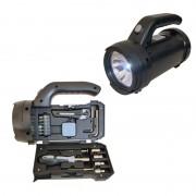 Lanternă cu Mini Trusă de Scule, 17 Piese, 13.7 x 9.8 x 20 cm, LED, Baterii, Negru
