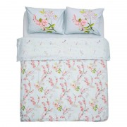 Lenjerie de Pat Heinner Home, King Size, 2 persoane, 100% bumbac, 144TC, 4 piese, Model Blue Cherry