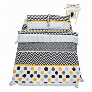 Lenjerie de Pat 2 Persoane Yellow Dots Heinner Home, 100% Bumbac, 4 piese, King Size