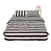 Lenjerie de Pat 2 Persoane Black & White Heinner Home, 100% Bumbac, 4 piese, King Size, Model Zebră
