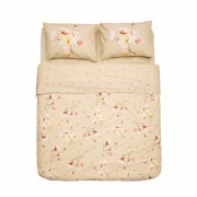 Lenjerie de Pat 2 Persoane Magnolia Heinner Home, 100% Bumbac, 4 piese, King Size, Model Flori