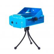 Mini Proiector Disco cu Senzor de Sunet Laser Stage, Strobo, Roşu şi Verde, Trepied, Ventilator