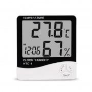 Mini Stație Meteo cu Ceas Digital, Senzor Temperatură și Umiditate MGZ, Alarmă, Dată, Memorie, Baterie, Negru/Alb