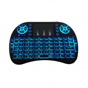 Mini Tastatură Qwerty Wireless i8 Keyboard, 2.4 GHz, 92 Taste, Touchpad, Backlit, Baterie reîncărcabilă, Negru