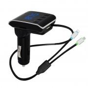Modulator FM Bluetooth pentru Maşină Wireless Car Kit Q7, Cablu Încărcare, MP3, microSD, Handsfree, Negru