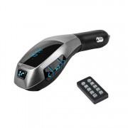 Modulator FM Bluetooth pentru Maşină Wireless Car Kit X7, Încărcător USB, MP3, microSD, Handsfree, Telecomandă, Negru