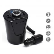 Modulator FM Bluetooth pentru Maşină MCS Car-Cup, Încărcător USB, MP3, microSD, AUX, Handsfree, Ecran LCD, Diverse Culori